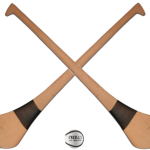 Two hurleys with a sliotar